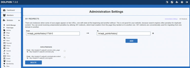 Admin panel 301 redirect area