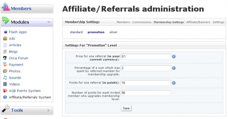 Membership settings