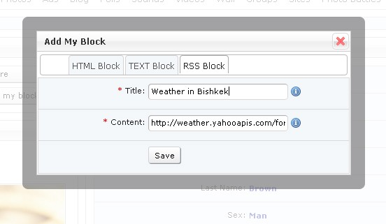 Create RSS block