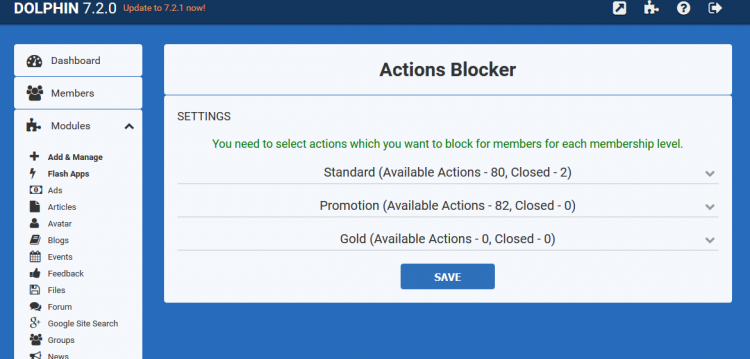 Actions Blocker Administration area