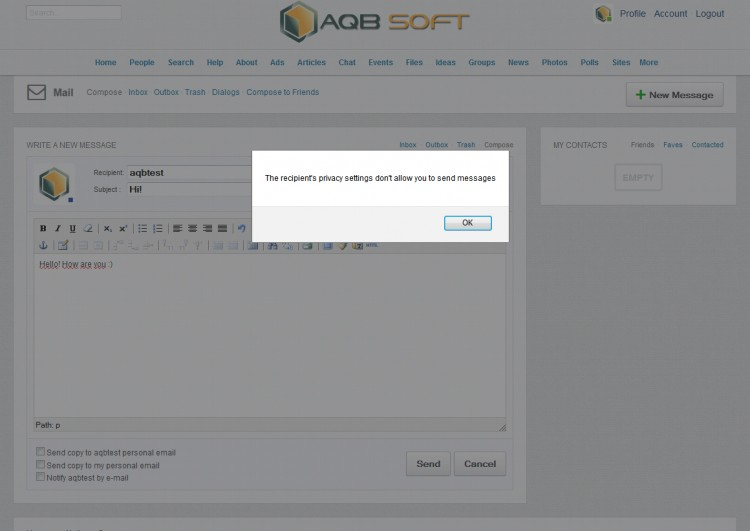 Warning message on compose message page