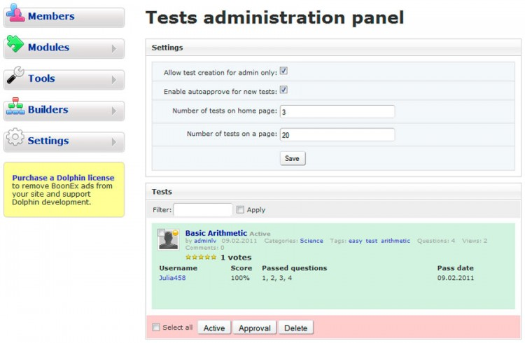 Administration panel.
