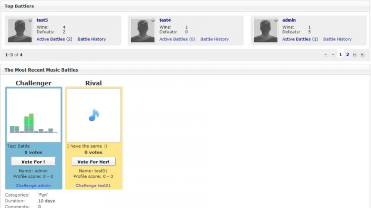Music Battle home page.