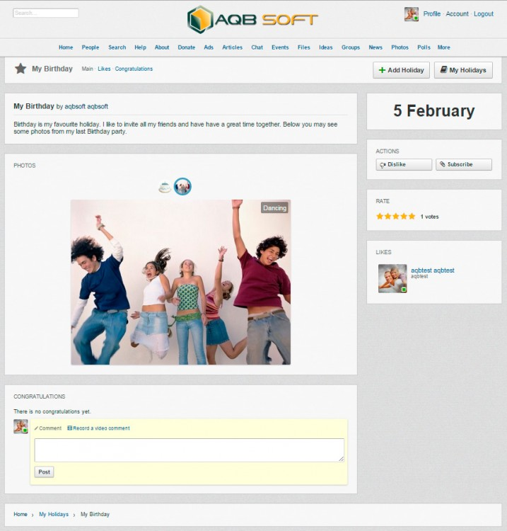 View holiday page.