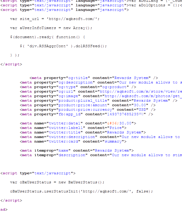Source code of the page with metadata
