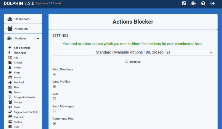 Actions Blocker Administration area with actions