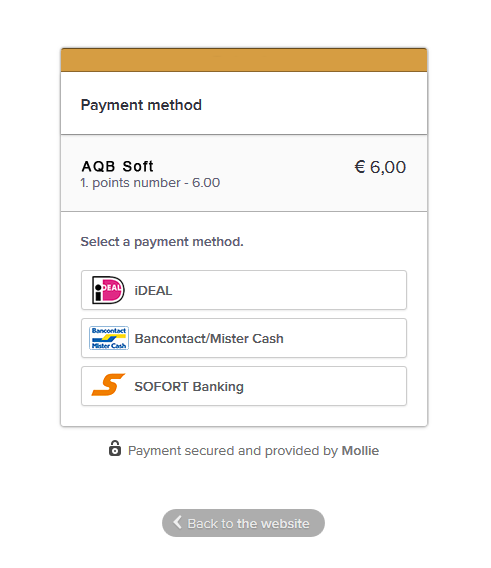 Payment methods menu on Mollie's page