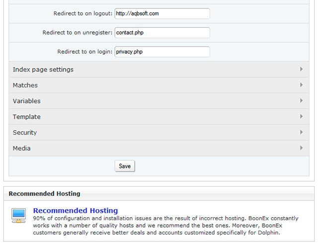 Settings in Dolphin's admin panel.