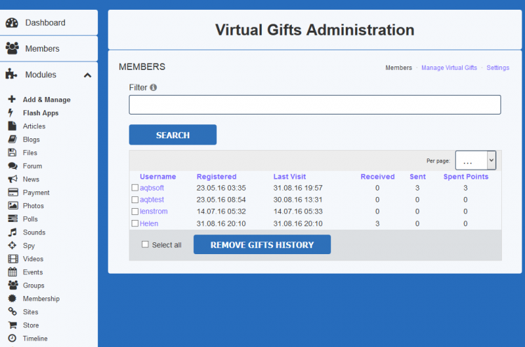 Virtual Gifts administration area