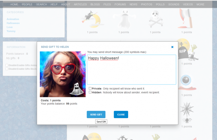 Send Virtual Gift popup window